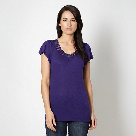 RJR.John Rocha - Designer purple bobble trim jersey top