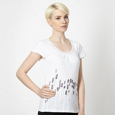 RJR.John Rocha - Designer white lavender embroidered top