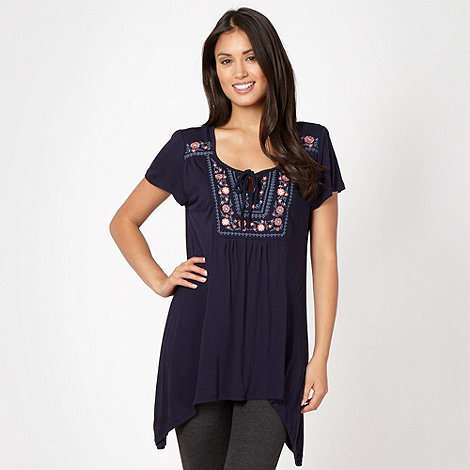 RJR.John Rocha - Designer navy embroidered bib gypsy top