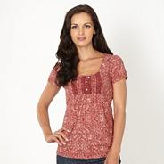 Designer dark red paisley organic cotton t-shirt
