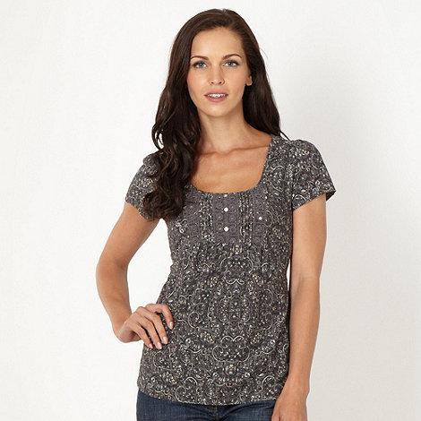 RJR.John Rocha - Designer dark grey paisley organic cotton t-shirt