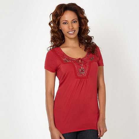 RJR.John Rocha - Dark red embellished jersey top