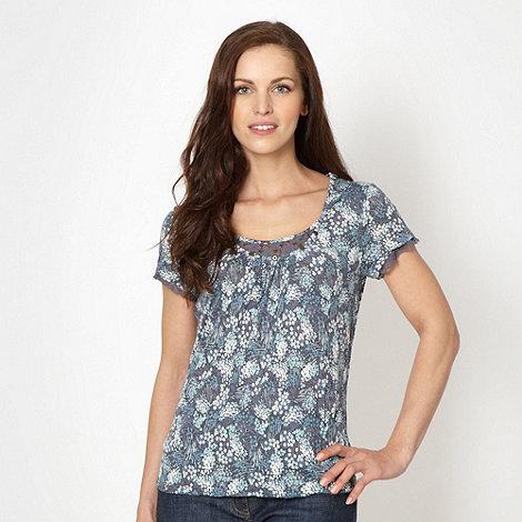 RJR.John Rocha - Designer navy crinkle floral top