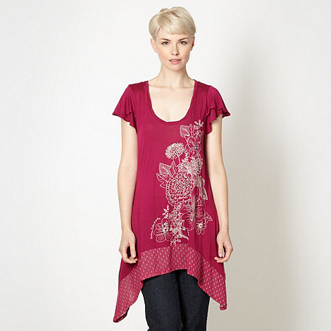 RJR.John Rocha - Designer dark pink embroidered t-shirt