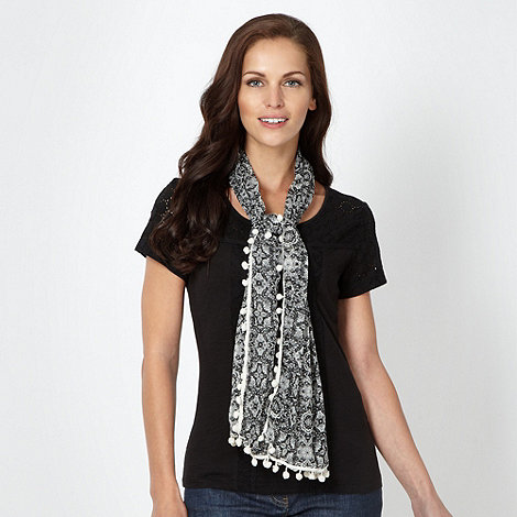 RJR.John Rocha - Designer black broderie sleeve top and scarf set