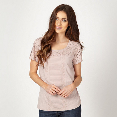 RJR.John Rocha - Designer light pink broderie trim top