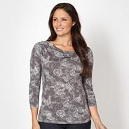 Designer dark grey dandelion cowl neck top