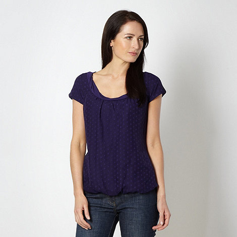 RJR.John Rocha - Designer dark purple spotted jersey trim top