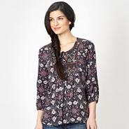 Dark grey floral tie front top