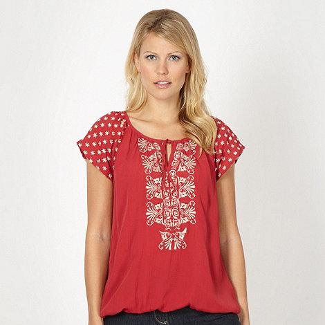 RJR.John Rocha - Designer dark red embroidered crepe top