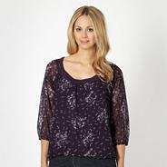 Designer plum jersey twist neck blouse