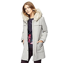 RJR.John Rocha - Grey faux fur trim duffle coat
