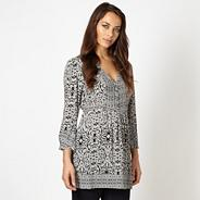 Designer grey scroll patterned crepe top