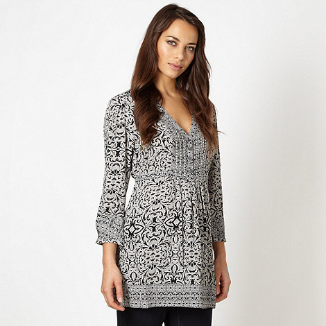 RJR.John Rocha - Designer grey scroll patterned crepe top