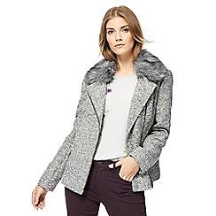 RJR.John Rocha - Grey boucle faux fur biker jacket
