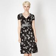 Designer black mixed dandelion tea dress