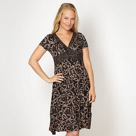 RJR.John Rocha - Designer taupe floral jersey dress