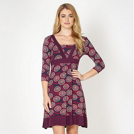 RJR.John Rocha - Designer plum coffee bean floral jersey dress