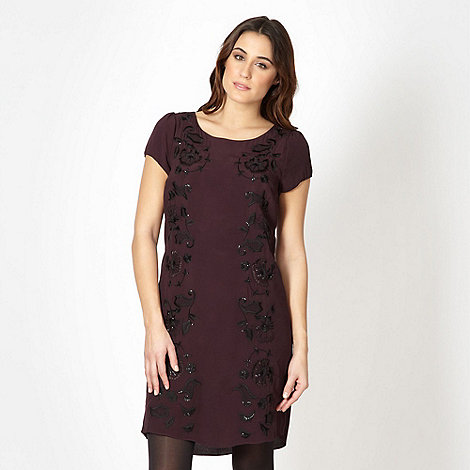 RJR.John Rocha - Designer dark purple embroidered dress