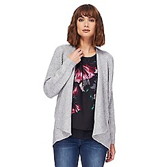 RJR.John Rocha - Grey ribbed trim waterfall cardigan