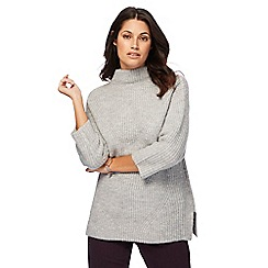 RJR.John Rocha - Grey chunky knit funnel neck jumper