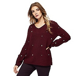 RJR.John Rocha - Dark red embellished V neck jumper