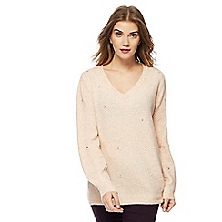 RJR.John Rocha - Light pink embellished V neck jumper