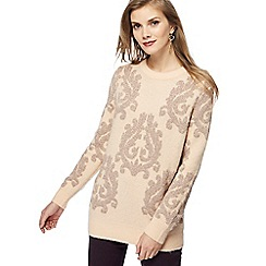 RJR.John Rocha - Pink Baroque embroidered jumper