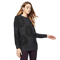 RJR.John Rocha - Dark grey Baroque embroidered jumper