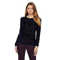 RJR.John Rocha - Black embroidered floral jumper