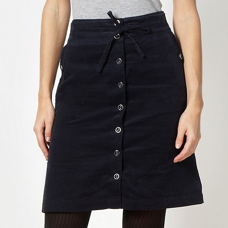 RJR.John Rocha - Designer navy button through cord skirt