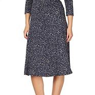 Designer navy pebble jersey skirt