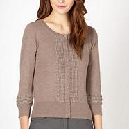Designer taupe embroidered cardigan