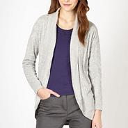 Designer light grey curved pointelle knitted cardigan