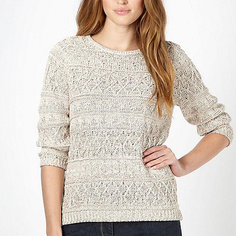 RJR.John Rocha - Designer pale pink tweed boat neck jumper