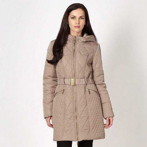 RJR.John Rocha - Designer taupe quilted belt coat