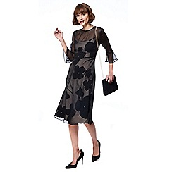 RJR.John Rocha - Black floral print long sleeve midi dress