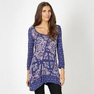 Designer dark blue mix and match panelled tunic