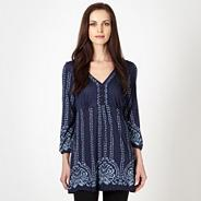 Designer navy paisley embroidered tunic