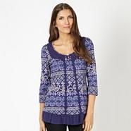 Designer dark blue mix and match patterned tunic