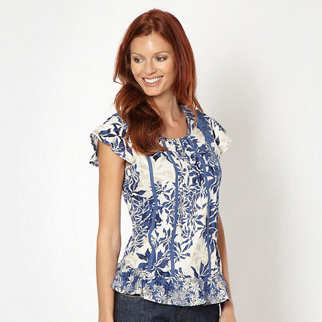 RJR.John Rocha - Designer blue mixed leaf top