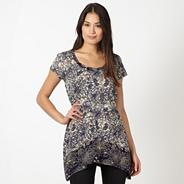 Designer taupe floral sequin tunic top