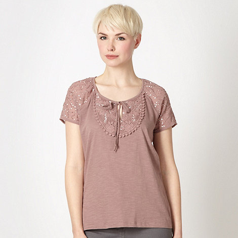 RJR.John Rocha - Designer rose sequinned lace gypsy top