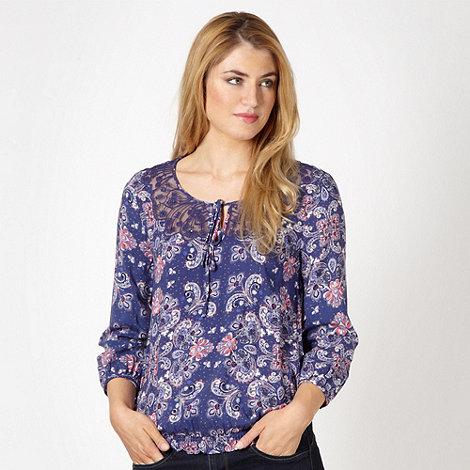RJR.John Rocha - Designer blue paisley lace gypsy top