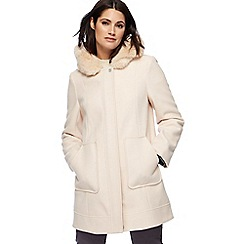 RJR.John Rocha - Light cream smart faux fur trim parka