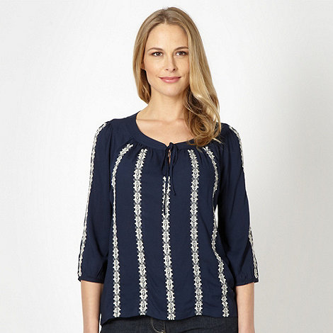 RJR.John Rocha - Designer navy embroidered textured top