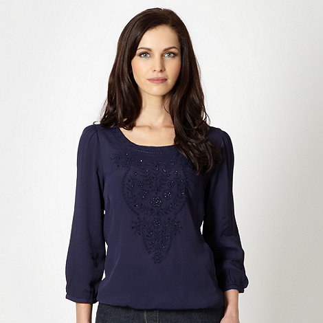 RJR.John Rocha - Designer navy embroidered floral crepe top