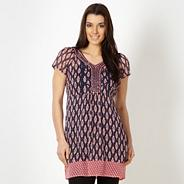 Designer navy paisley tunic top