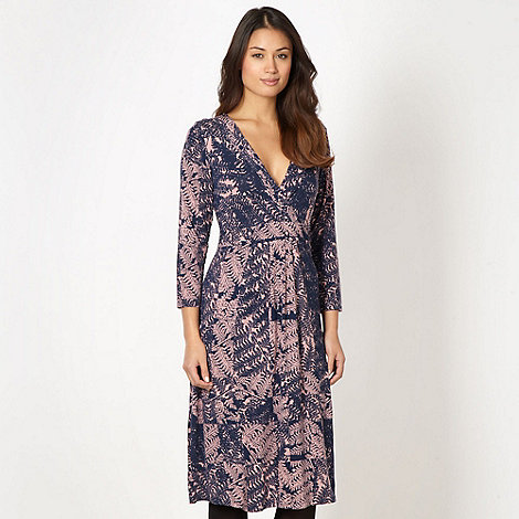 RJR.John Rocha - Designer navy fern print wrap dress