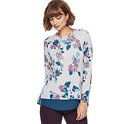 RJR.John Rocha - Grey floral print mock jumper